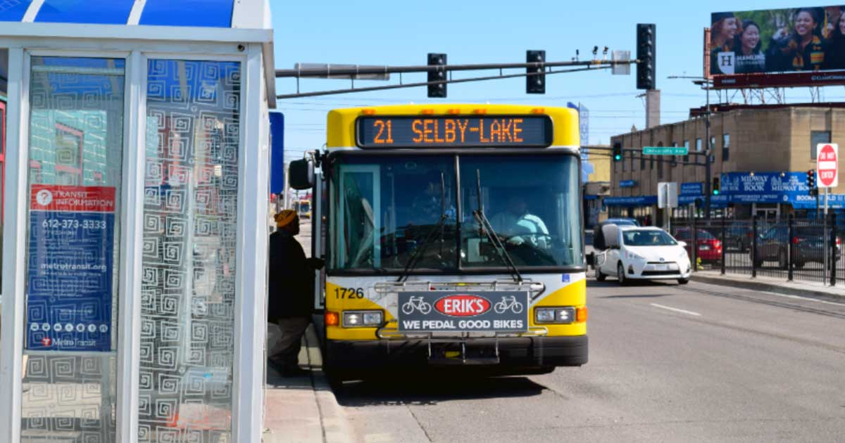 Transit riders boarding the 21 bus in Saint Paul