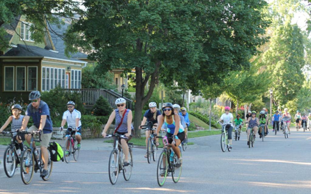 People biking on a slow roll