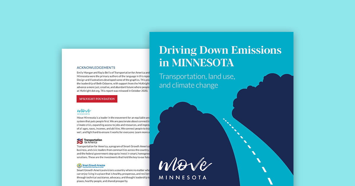 Driving Down Emissions in Minnesota report cover