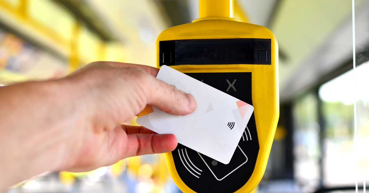 Bus rider paying for their fare
