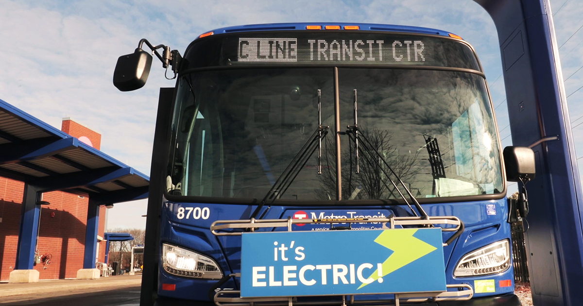 An all-electric C Line bus ready for a charge.
