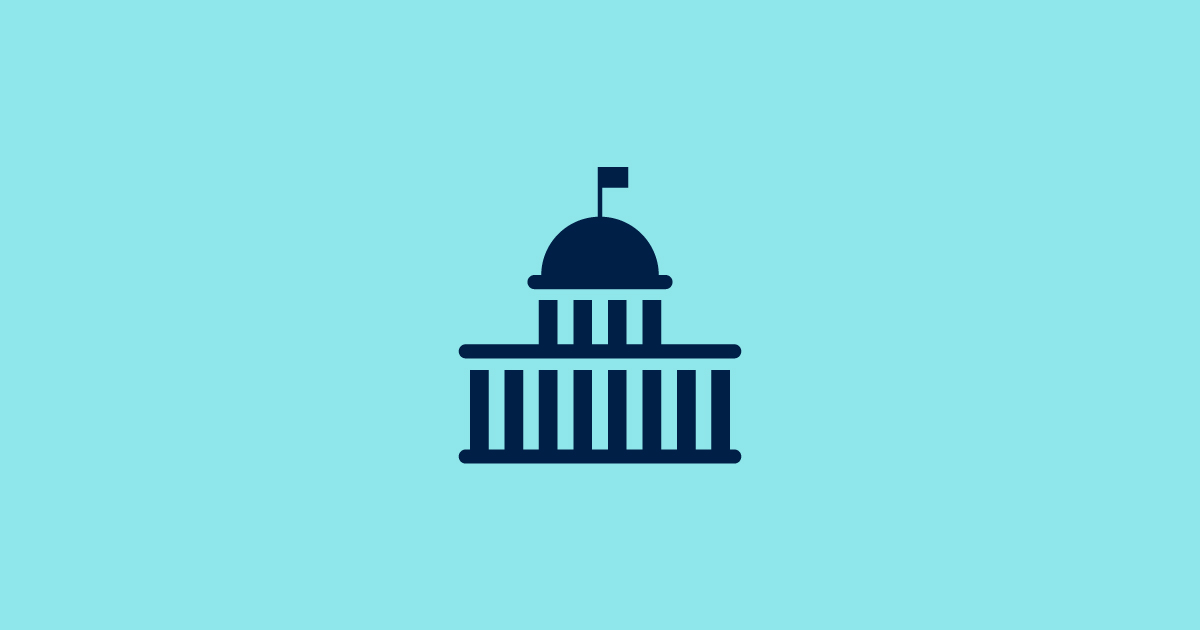 Teal and navy blue icon of capitol building