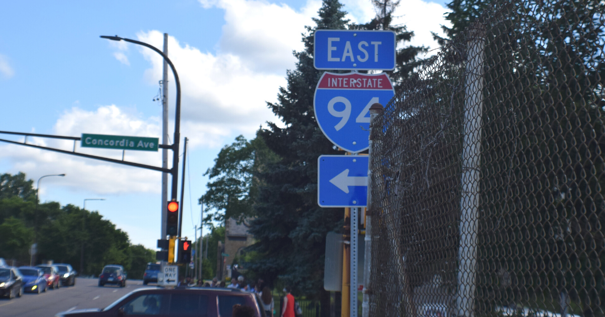 Road sign pointing to I-94 East in Saint Paul