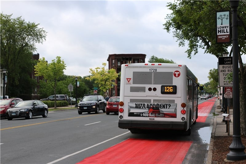 The Route 12G bus on a bus only lane in Minneapolis
