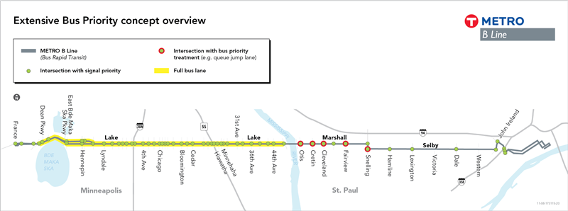 A map overview of the extensive bus priority concept stretching from Saint Paul to Minneapolis