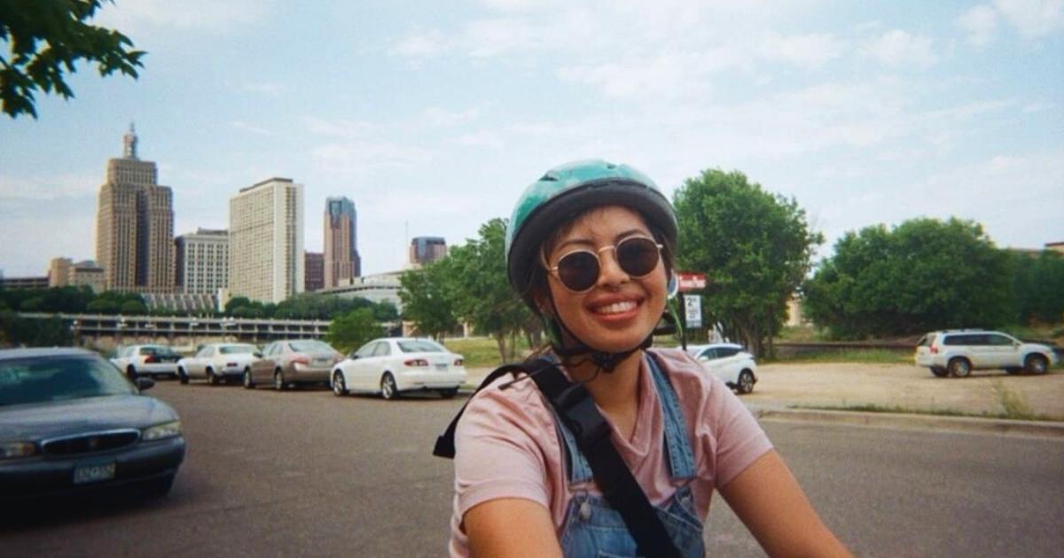 Person riding their bike in Saint Paul